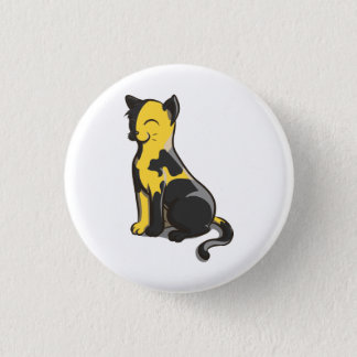 Black and Yellow Ancap AnCat Gold Cat Button