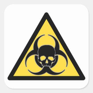 Black and yellow Biohazard symbol and skull Square Sticker