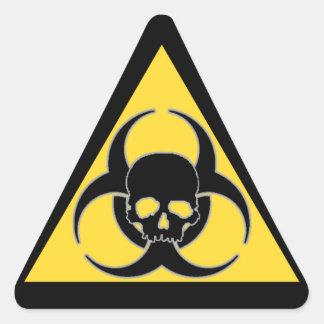 Black and yellow Biohazard symbol and skull Triangle Sticker