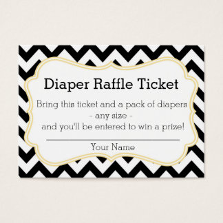 Black and Yellow Chevron Diaper Raffle Ticket