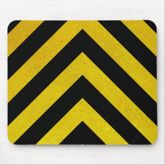 black and yellow construction hazard mouse pad