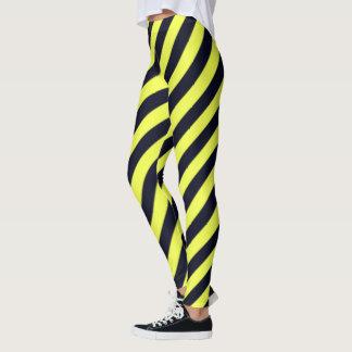 Black and Yellow Diagonal Stripes Leggings