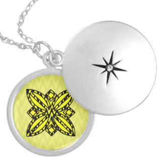 Black and Yellow Floral Round Locket Necklace