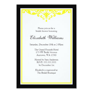 Black and Yellow Flourish Bridal Shower 13 Cm X 18 Cm Invitation Card