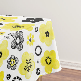 Black and Yellow Flowers Tablecloth