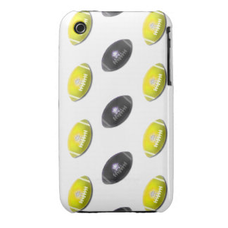 Black and Yellow Football Pattern iPhone 3 Case