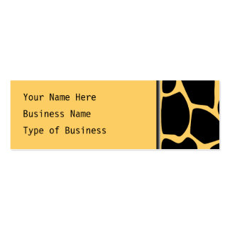 Black and Yellow Giraffe Print Pattern. Double-Sided Mini Business Cards (Pack Of 20)