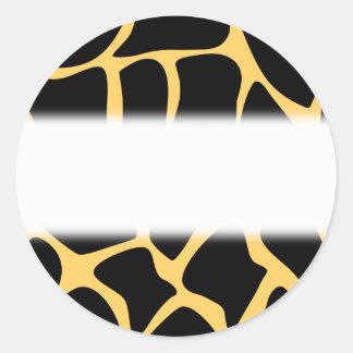 Black and Yellow Giraffe Print Pattern Round Sticker
