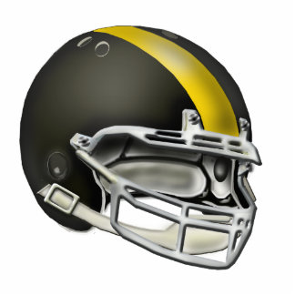 Black and Yellow Gold Football Helmet Ornament Photo Sculpture Decoration