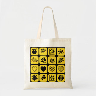 Black and Yellow Heart and Flower Squares Pattern Tote Bag