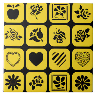 Black and Yellow Heart and Flower Squares Pattern Ceramic Tiles