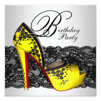 Black and Yellow High Heel Shoe Birthday Party Card