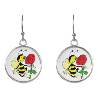 Black and yellow hornet wasp bee with a red rosE Earrings