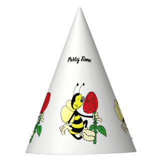 Black and yellow hornet wasp bee with a red rose party hat