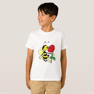 Black and yellow hornet wasp bee with a red rose T-Shirt