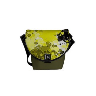 Black and Yellow Modern Abstract Paint Splatter Courier Bag