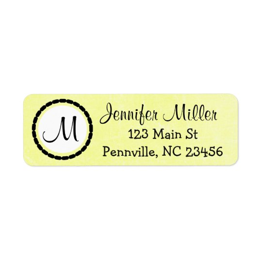 Black and Yellow Monogrammed Return Address Labels