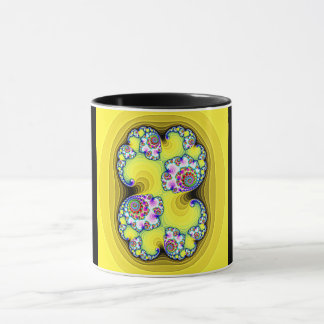 black and yellow mug with fractal