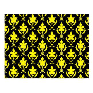 Black And Yellow Ornate Wallpaper Pattern Postcard