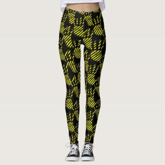 Black and yellow palm prints pattern, construction leggings