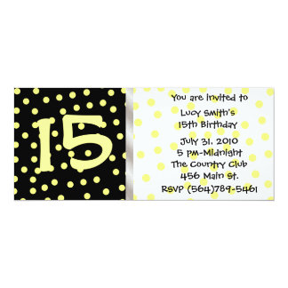 Black and Yellow Polkadot Birthday Invitation