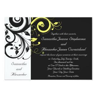 Black and Yellow Reverse Swirl 13 Cm X 18 Cm Invitation Card