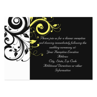 Black and Yellow Reverse Swirl Business Card Templates
