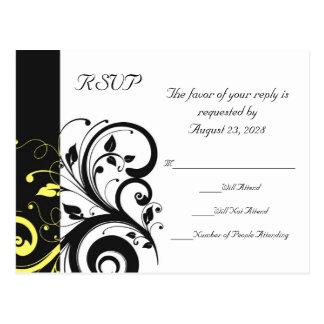 Black and Yellow Reverse Swirl Postcard