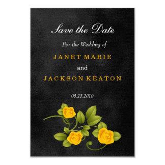 Black and Yellow Rose Wedding - Save the Date 9 Cm X 13 Cm Invitation Card