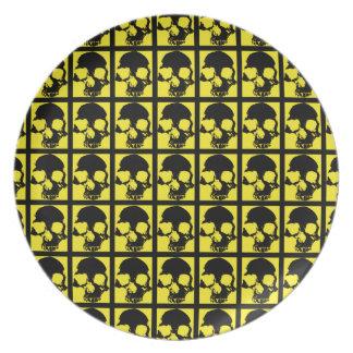 Black and yellow skull custom decor dinner plate