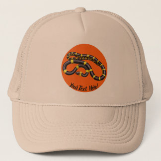 Black and yellow snake trucker hat