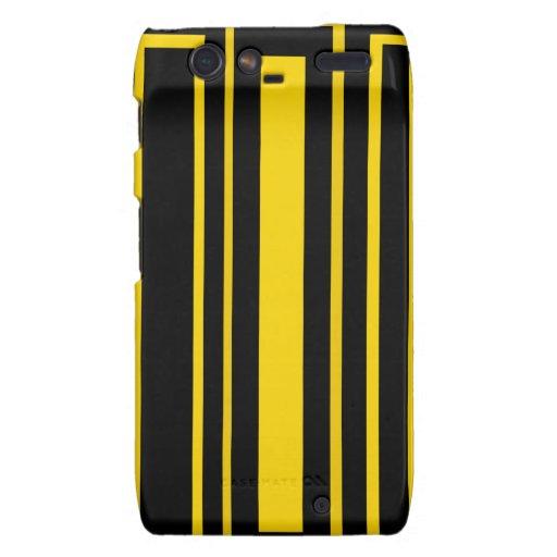 Black and yellow stripes droid RAZR cases