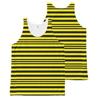 Black and Yellow Stripes X 3 All-Over Print Singlet