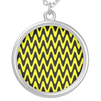 Black and Yellow Wavy Zigzag Round Pendant Necklace