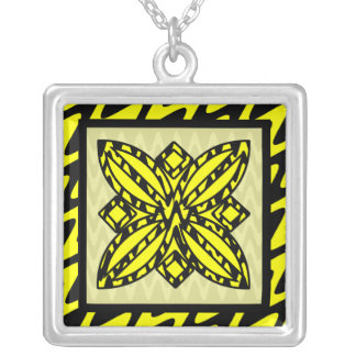 Black and Yellow Zigzag Floral Square Pendant Necklace