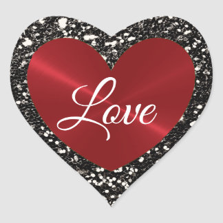 Black andRed Faux Glitter and Heart Shaped Sticker