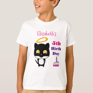 Black Angel Cat With Cake Personalized Birthday T-Shirt