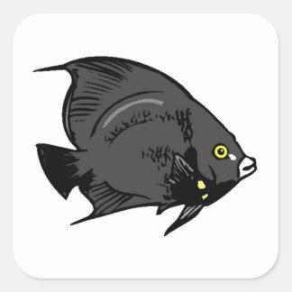 Black Angel Fish Square Stickers