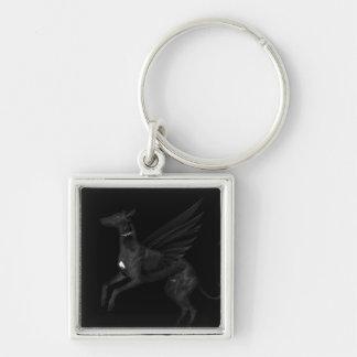 Black Angel Greyhound Key Ring