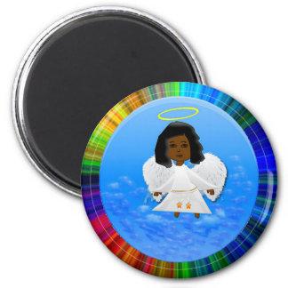 Black Angel Round Magnet