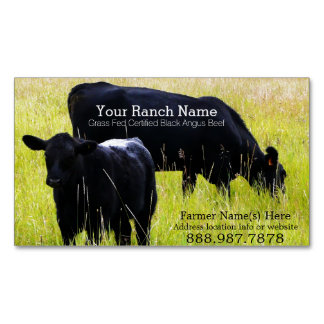 Black Angus Beef Cattle Ranch Farm Magnetic Business Card