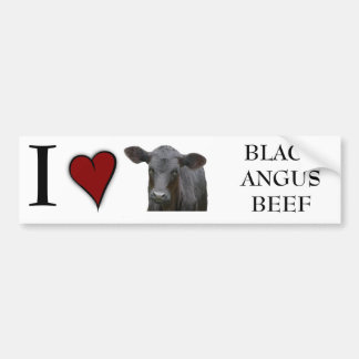 Black Angus Beef  - I love heart design Bumper Sticker