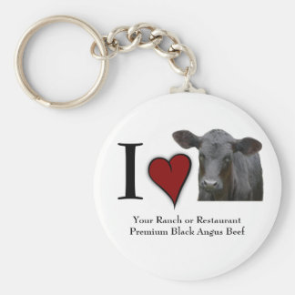 Black Angus Beef - I love heart design Key Chains