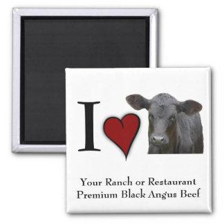 Black Angus Beef  - I love heart design Square Magnet