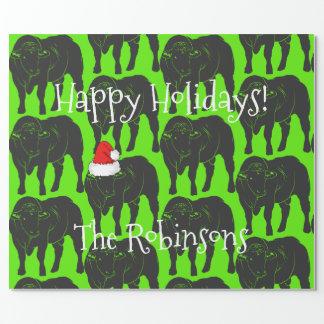 Black Angus Bulls & Red Santa Hat Christmas Wrapping Paper