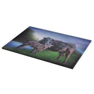 Black Angus Cow and Calf Cutting Board