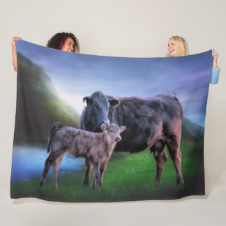 Black Angus Cow and Calf Fleece Blanket