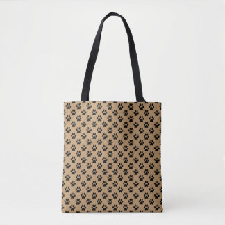 Black Animal Paw Prints on Camel Brown Tote Bag