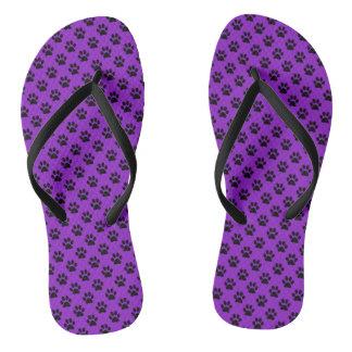 Black Animal Paw Prints on Purple Thongs