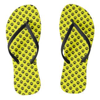 Black Animal Paw Prints on Yellow Thongs